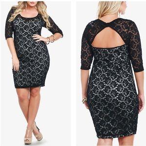 Torrid 3/4 sleeve black lace illusion dress